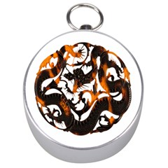 Ornament Dragons Chinese Art Silver Compasses