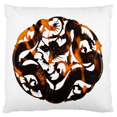 Ornament Dragons Chinese Art Large Flano Cushion Case (One Side)