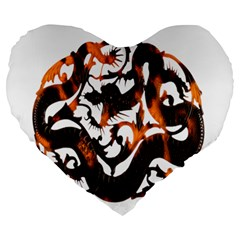 Ornament Dragons Chinese Art Large 19  Premium Flano Heart Shape Cushions