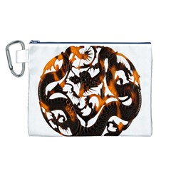 Ornament Dragons Chinese Art Canvas Cosmetic Bag (L)