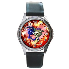 Ove Hearts Cute Valentine Dragon Round Metal Watch