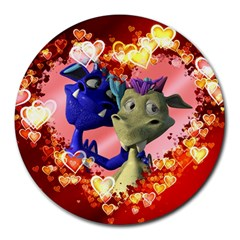 Ove Hearts Cute Valentine Dragon Round Mousepads