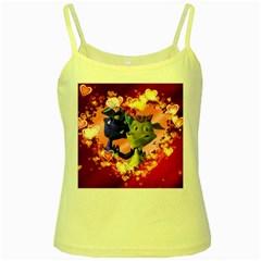 Ove Hearts Cute Valentine Dragon Yellow Spaghetti Tank