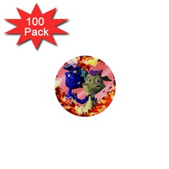 Ove Hearts Cute Valentine Dragon 1  Mini Buttons (100 pack)