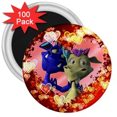 Ove Hearts Cute Valentine Dragon 3  Magnets (100 pack)