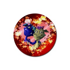 Ove Hearts Cute Valentine Dragon Rubber Round Coaster (4 pack)