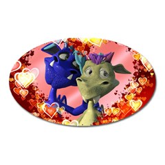 Ove Hearts Cute Valentine Dragon Oval Magnet