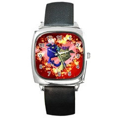 Ove Hearts Cute Valentine Dragon Square Metal Watch