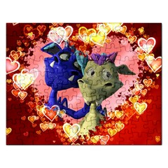 Ove Hearts Cute Valentine Dragon Rectangular Jigsaw Puzzl