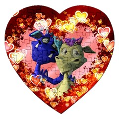 Ove Hearts Cute Valentine Dragon Jigsaw Puzzle (Heart)
