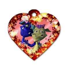 Ove Hearts Cute Valentine Dragon Dog Tag Heart (Two Sides)