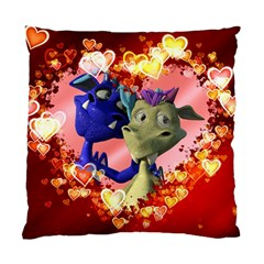 Ove Hearts Cute Valentine Dragon Standard Cushion Case (One Side)