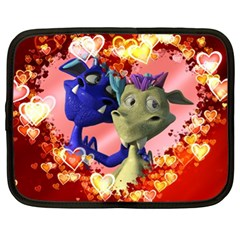 Ove Hearts Cute Valentine Dragon Netbook Case (XL)