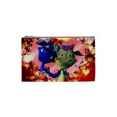 Ove Hearts Cute Valentine Dragon Cosmetic Bag (Small)