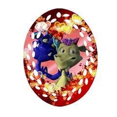 Ove Hearts Cute Valentine Dragon Oval Filigree Ornament (2-Side)