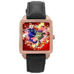 Ove Hearts Cute Valentine Dragon Rose Gold Leather Watch