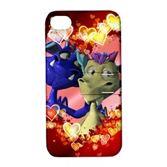 Ove Hearts Cute Valentine Dragon Apple iPhone 4/4S Hardshell Case with Stand