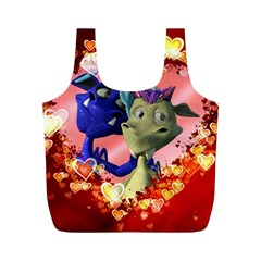 Ove Hearts Cute Valentine Dragon Full Print Recycle Bags (M)