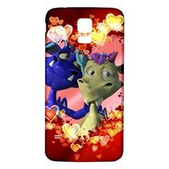Ove Hearts Cute Valentine Dragon Samsung Galaxy S5 Back Case (White)