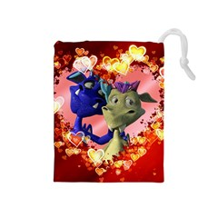 Ove Hearts Cute Valentine Dragon Drawstring Pouches (Medium)