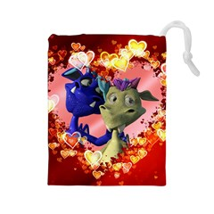 Ove Hearts Cute Valentine Dragon Drawstring Pouches (Large)