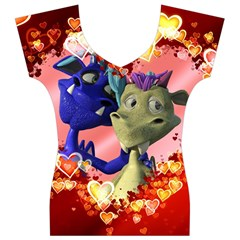 Ove Hearts Cute Valentine Dragon Women s V-Neck Cap Sleeve Top