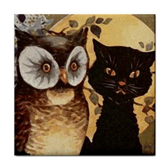 Owl And Black Cat Tile Coasters