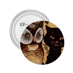 Owl And Black Cat 2.25  Buttons