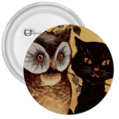 Owl And Black Cat 3  Buttons