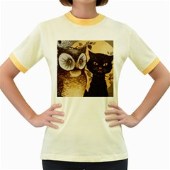Owl And Black Cat Women s Fitted Ringer T-Shirts