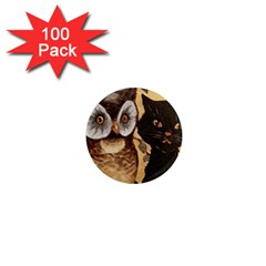 Owl And Black Cat 1  Mini Magnets (100 pack)