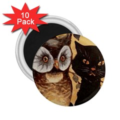 Owl And Black Cat 2.25  Magnets (10 pack)