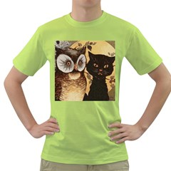 Owl And Black Cat Green T-Shirt