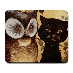 Owl And Black Cat Large Mousepads