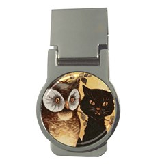Owl And Black Cat Money Clips (Round)