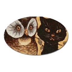 Owl And Black Cat Oval Magnet