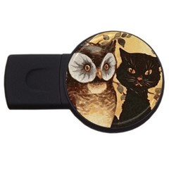 Owl And Black Cat USB Flash Drive Round (1 GB)