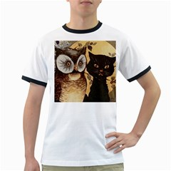 Owl And Black Cat Ringer T-Shirts