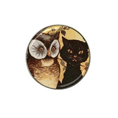 Owl And Black Cat Hat Clip Ball Marker
