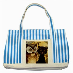 Owl And Black Cat Striped Blue Tote Bag