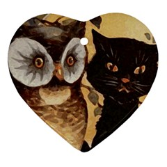 Owl And Black Cat Heart Ornament (2 Sides)