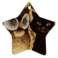 Owl And Black Cat Star Ornament (Two Sides)