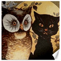 Owl And Black Cat Canvas 16  x 16