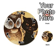 Owl And Black Cat Playing Cards 54 (Round)