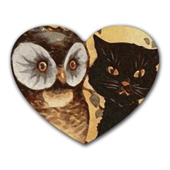 Owl And Black Cat Heart Mousepads