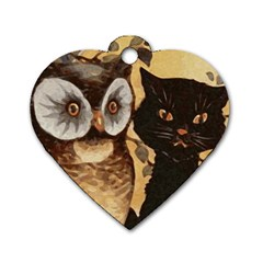 Owl And Black Cat Dog Tag Heart (One Side)