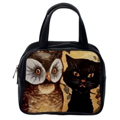 Owl And Black Cat Classic Handbags (One Side)