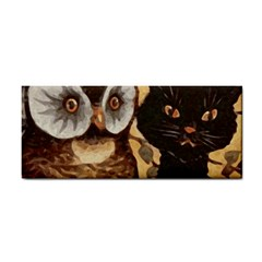 Owl And Black Cat Hand Towel