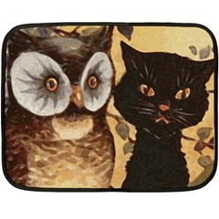 Owl And Black Cat Double Sided Fleece Blanket (Mini)