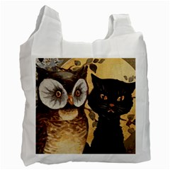 Owl And Black Cat Recycle Bag (Two Side)